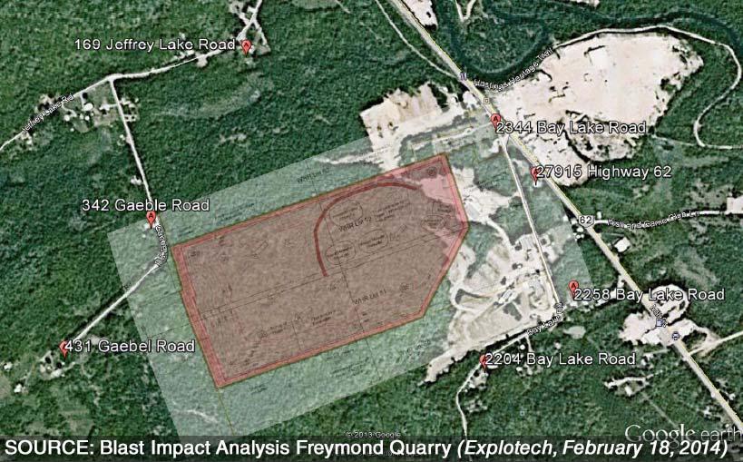 Proposed Freymond quarry location shown on Google Satellite image. Source: Blast Impact Analysis Freymond Quarry (Explotech, February 18, 2014)